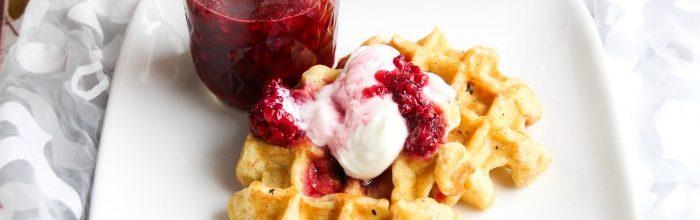 Multi-Grain Blackberry Waffles with Yogurt