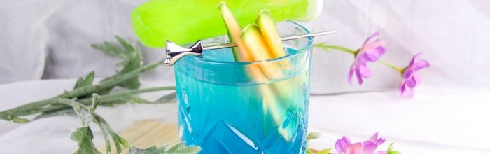 Blue Cake Cocktail with Melon Sugar Popsicle