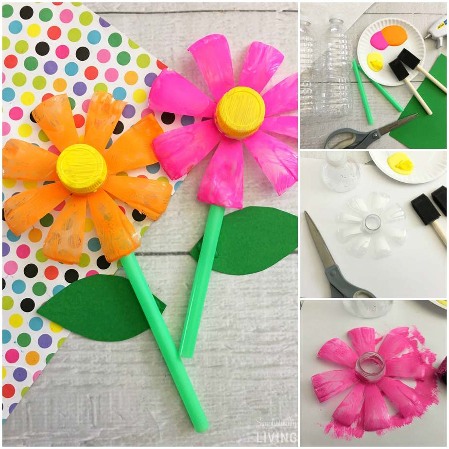 Plastic Bottle Flowers Upcycle Project Simplistically Living