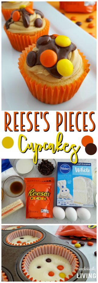 Reese's Pieces Cupcakes with Chocolate Peanut Butter Ganache #reesespieces #cupcakes #candycupcakes #peanutbutter #peanutbutterrecipes