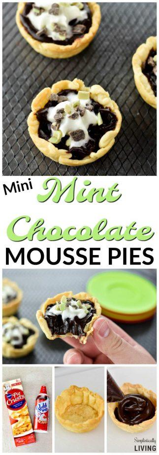 Mini Mint Chocolate Mousse Pies #minipies #mintchocolate #mousse #moussepies #mintchocolatedesserts