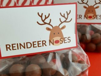 Reindeer Noses Treat Bags (With Free Printable)
