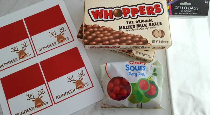 What You Need To Make Reindeer Noses Treat Bags