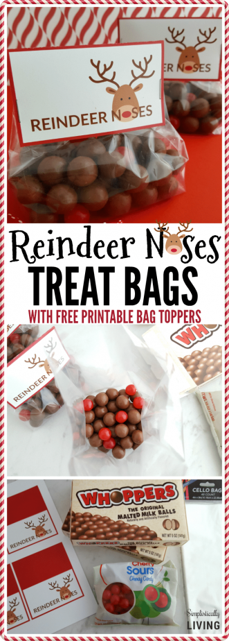 photo about Reindeer Noses Printable named Reindeer Noses Handle Baggage (With No cost Printable)
