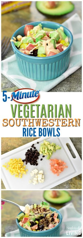 5-Minute Vegetarian Southwestern Rice Bowls #vegetarian #southwestern #rice #ricebowls #quickrecipes #easyrecipes