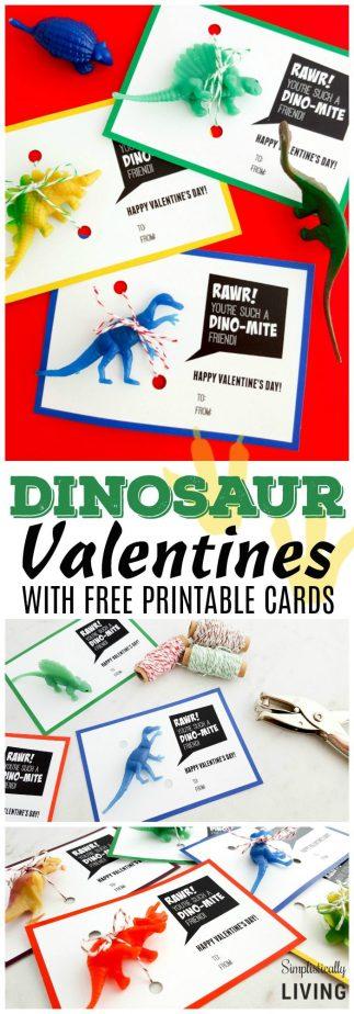 Dinosaur Valentines (with Free Printable Card) #dinosaur #valentine #valentineprintables #freeprintables #dinosaurcraft