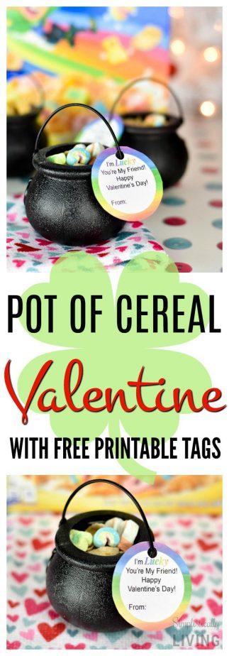 Pot of Cereal Valentine #potofcereal #cerealvalentine #valentineprintable #noncandyvalentine