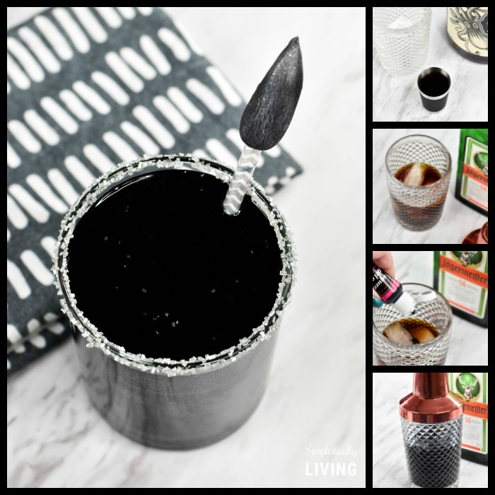 Black Panther Cocktail #blackpanther #cocktails #blackcocktail #blackpantherrecipes #cocktailrecipes