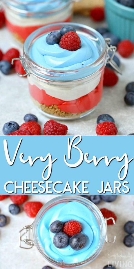 4th Very Berry Cheesecake Jars #4thofjuly #cheesecakejars #cheesecake #veryberry #4thdesserts #patrioticdesserts
