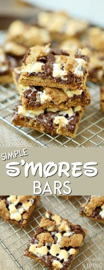 Simple S'mores Bars #smores #smorebars #campingrecipes #treats #marshmallow