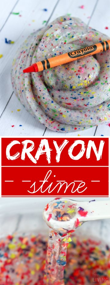 Crayon Slime - my new back to school craft! Super colorful, slimey slime made from crayon shavings. And, who doesn't have a million broken crayons lying around? #backtoschool #slime #crayonslime #crayoncrafts | simplisticallyliving.com