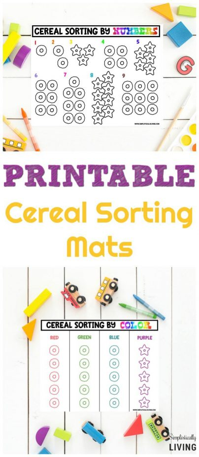 Free Printable Cereal Sorting Mats #printable #freeprintable #cereal #sortingmats #preschoolprintables