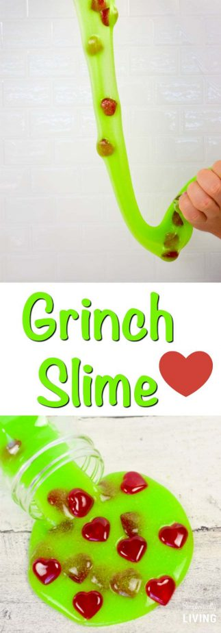 Grinch Slime - the perfect slime to keep your kids entertained and from feeling grouchy like The Grinch. #grinch #grinchslime #slime #homemadeslime #christmasslime #grinchcrafts | simplisticallyliving.com