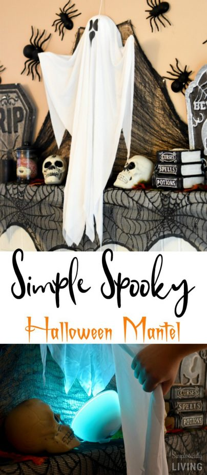 DIY Spooky Halloween Mantel - a super simply way to spook up your home this Halloween. Including a way to illuminate a ghost! #halloween #halloweenmantel #halloweendecor #diyhalloween #PhilipsHue #myhue