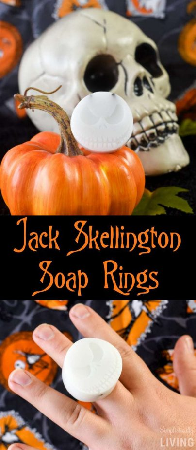 Jack Skellington Soap Rings - the coolest way to wear Jack Skellington on your fingers AND have something to wash your hands with after. #jackskellington #nightmarebforechristmas #jackskellingtonsoap #handmadesoap #halloweensoap #halloweencrafts