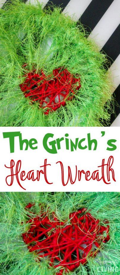 The Grinch's Heart Wreath - A DIY, fuzzy wreath perfect for all things Grinch. #grinch #grinchcraft #grinchwreath #grinchmas | simplisticallyliving.com