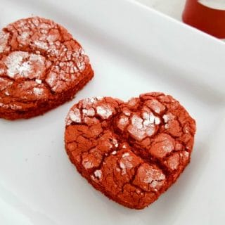 Red Velvet Heart Crinkle Cookies