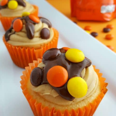 Reese's Pieces Cupcakes with Chocolate Peanut Butter Ganache