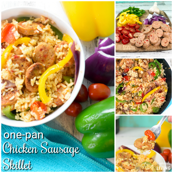One-Pan Chicken Sausage Skillet - a delicious meal that can be made in one-pan in 30 minutes or less! #chickensausage #chicken #alfresco #onepan #onepanmeals #skillet @alfrescochicken | simplisticallyliving.com