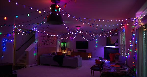 Joyce's Living Room with Christmas Lights