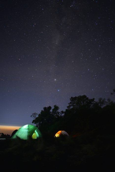 tents camping under the stars
