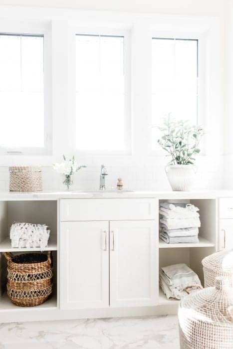 a clean and organized bathroom