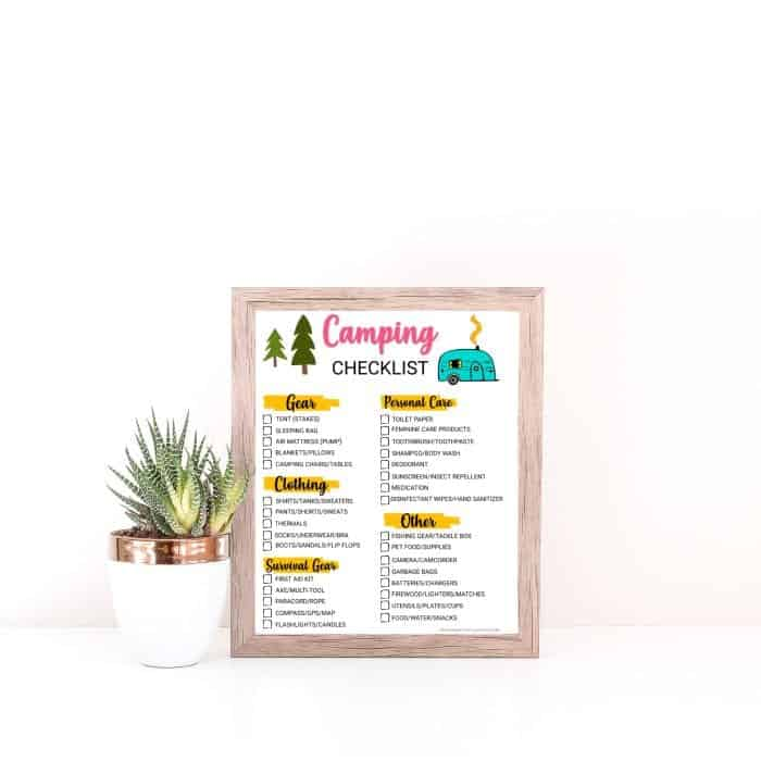 camping checklist printable in a frame