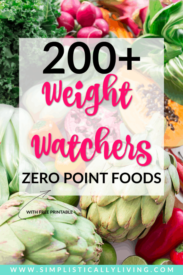 picture of vegetables with weight watchers zero point foods on it
