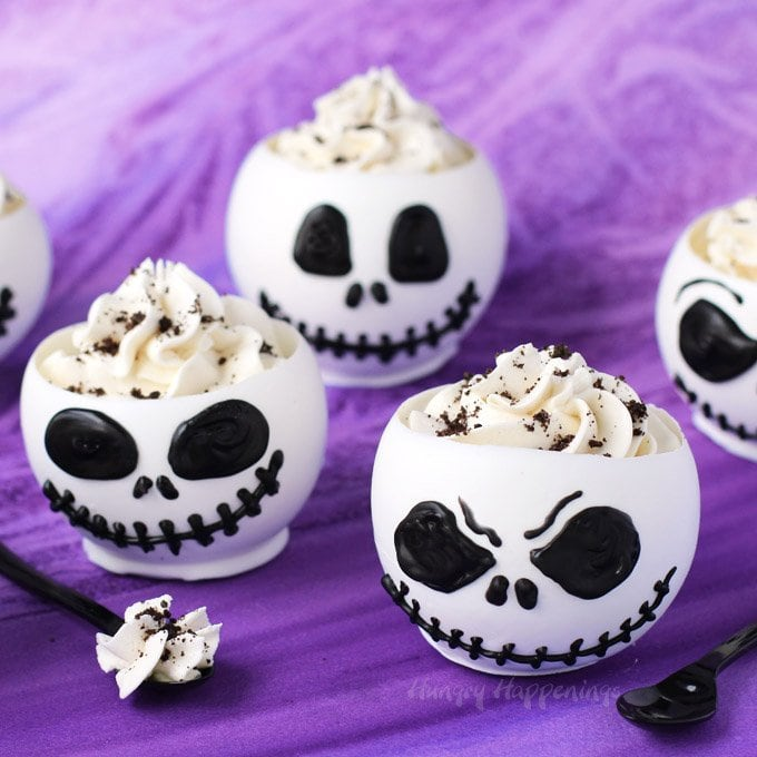 Jack Skellington Chocolate Bowls filled with Cookies 'n Cream Mousse