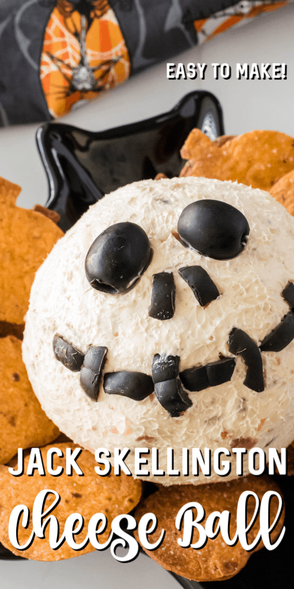 This Jack Skellington Cheese Ball is the perfect appetizer for Halloween. It combines cream cheese, bacon and few other simple ingredients to create a one-of-a-kind, no bake Halloween dip. You can serve it up alongside our Homemade Pumpkin Tortilla Chips! #jackskellington #cheeseball #cheeseballrecipes #nightmarebeforechristmasparty #jackskellingtonrecipes #jackskellingtoncheeseball