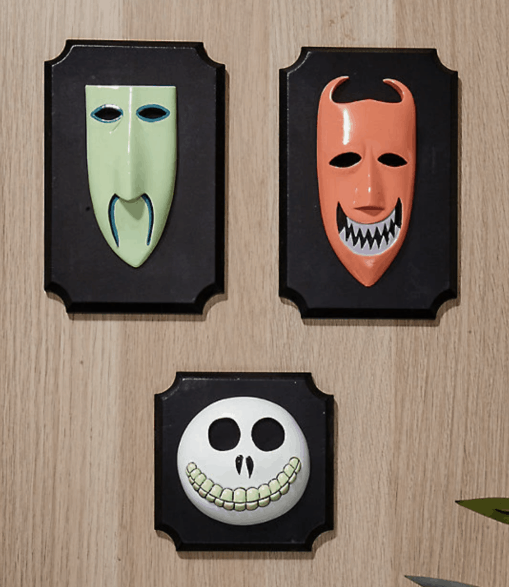 THE NIGHTMARE BEFORE CHRISTMAS OOGIE'S BOYS MASKS WALL PLAQUES