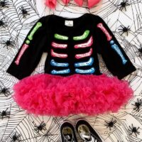 Colorful Skeleton Long Sleeve Tutu Romper