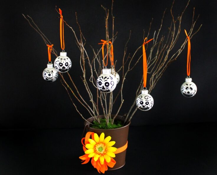 DIY Day of the Dead Sugar Skull Tree Table Decor
