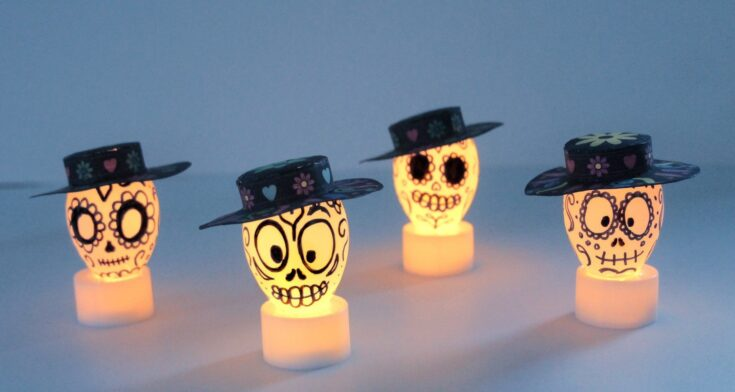 Easy DIY Glowing Day Of The Dead Sugar Skull Decorations