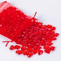 Red Acrylic Heart Beads