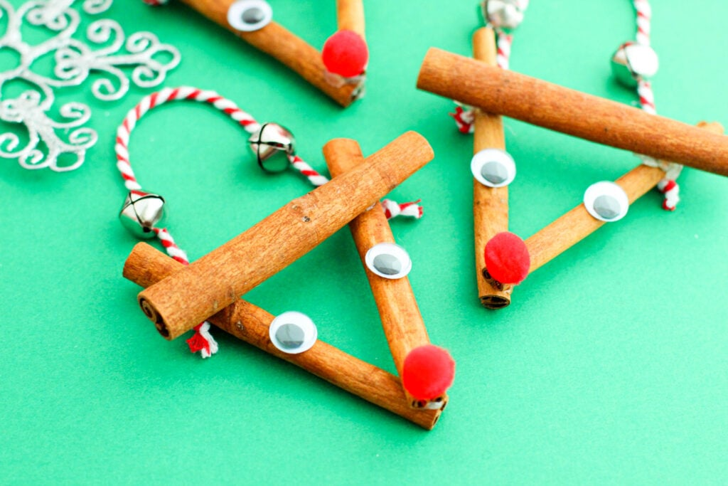 These Cinnamon Stick Reindeer Ornaments require a few simple supplies and are the perfect holiday ornament to make with kids.