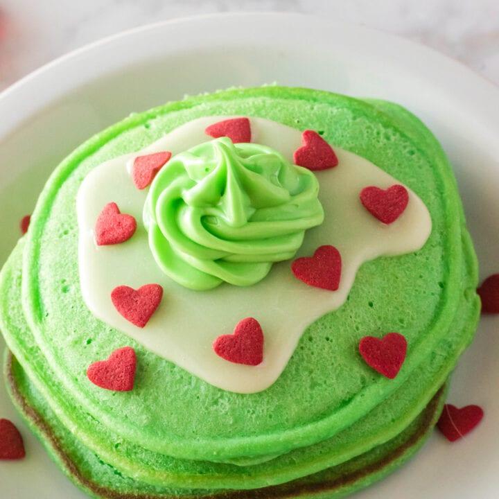 Copycat IHOP Grinch Pancakes