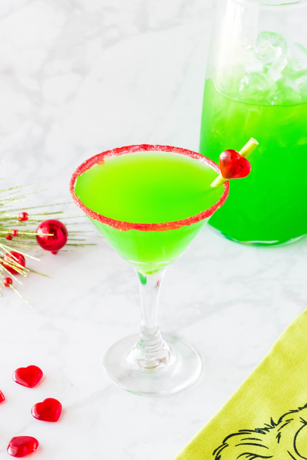 grinch cocktail on a table