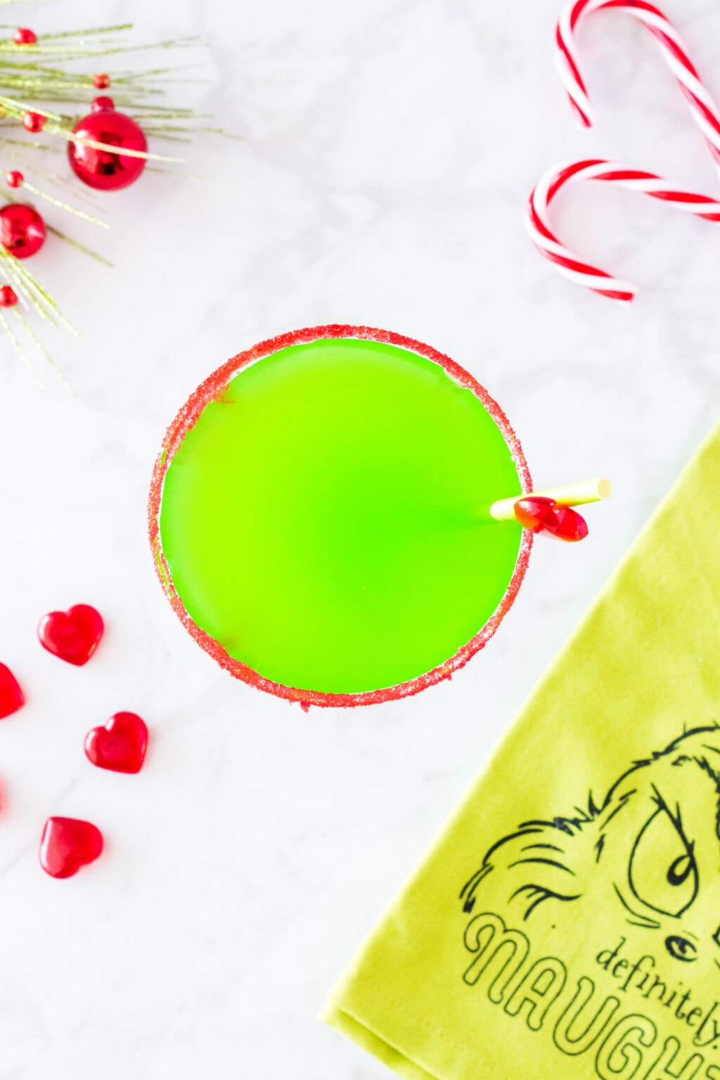 top view of green grinch cocktail in glass
