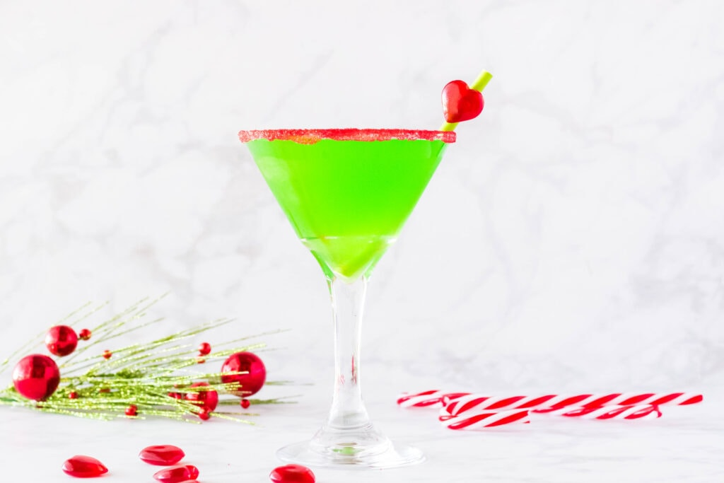 grinch cocktail in martini glass