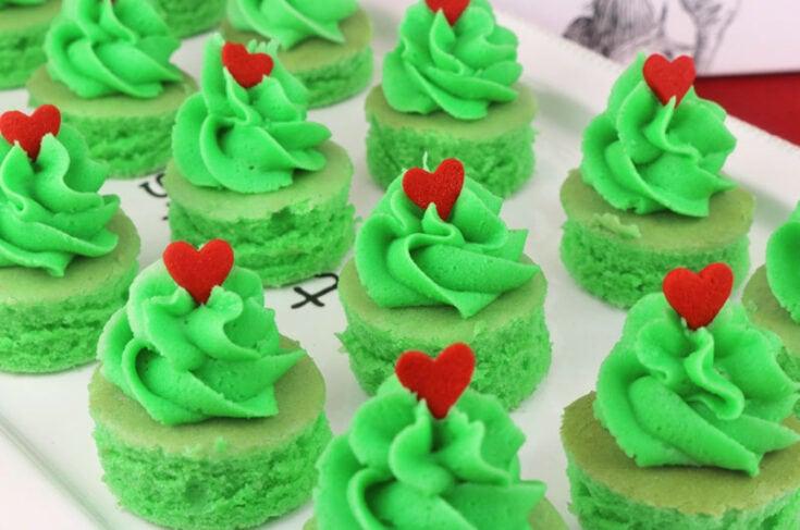 Grinch Cake Bites