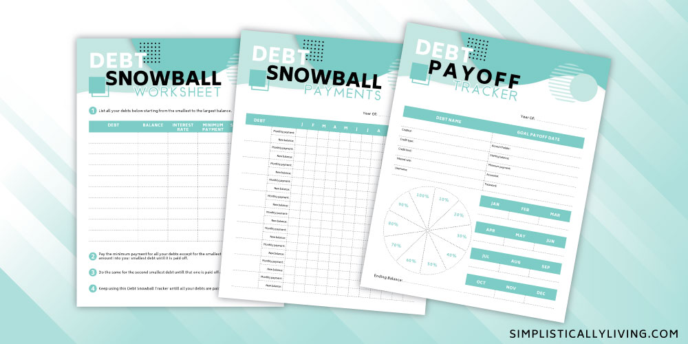 free debt snowball printable using the dave ramsey debt snowball method.