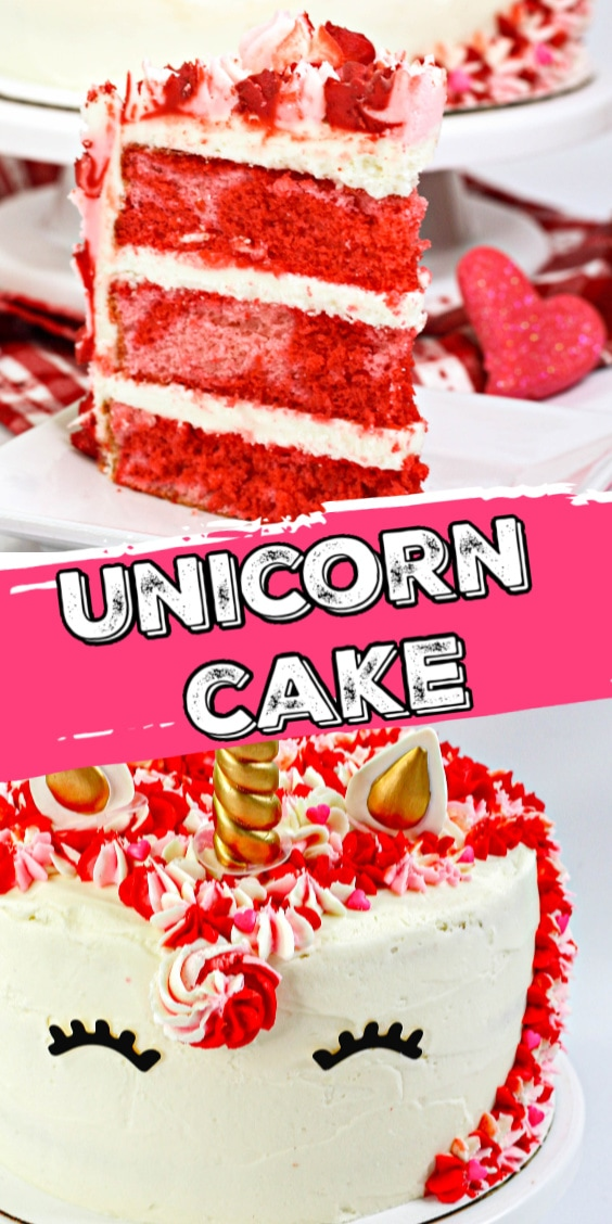 Valentine Unicorn Cake is the perfect homemade Valentine's Day treat. It is layered with pink and red vanilla cake and topped with homemade vanilla frosting.