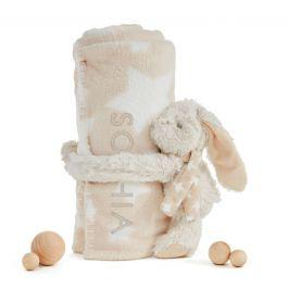 Personalized Bunny Rabbit Stuffed Animal and Blanket Gift Set