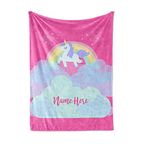 Personalized Magical Rainbow Unicorn Blanket