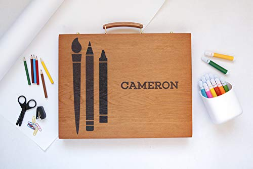 Personalized Wooden Case Art Supplies for Kids
