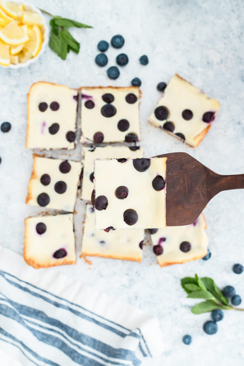 top view of lemon blueberry cheesecake bars