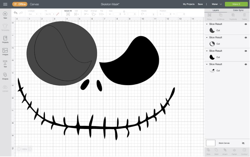 editing jack skellington face mask silhouette on computer