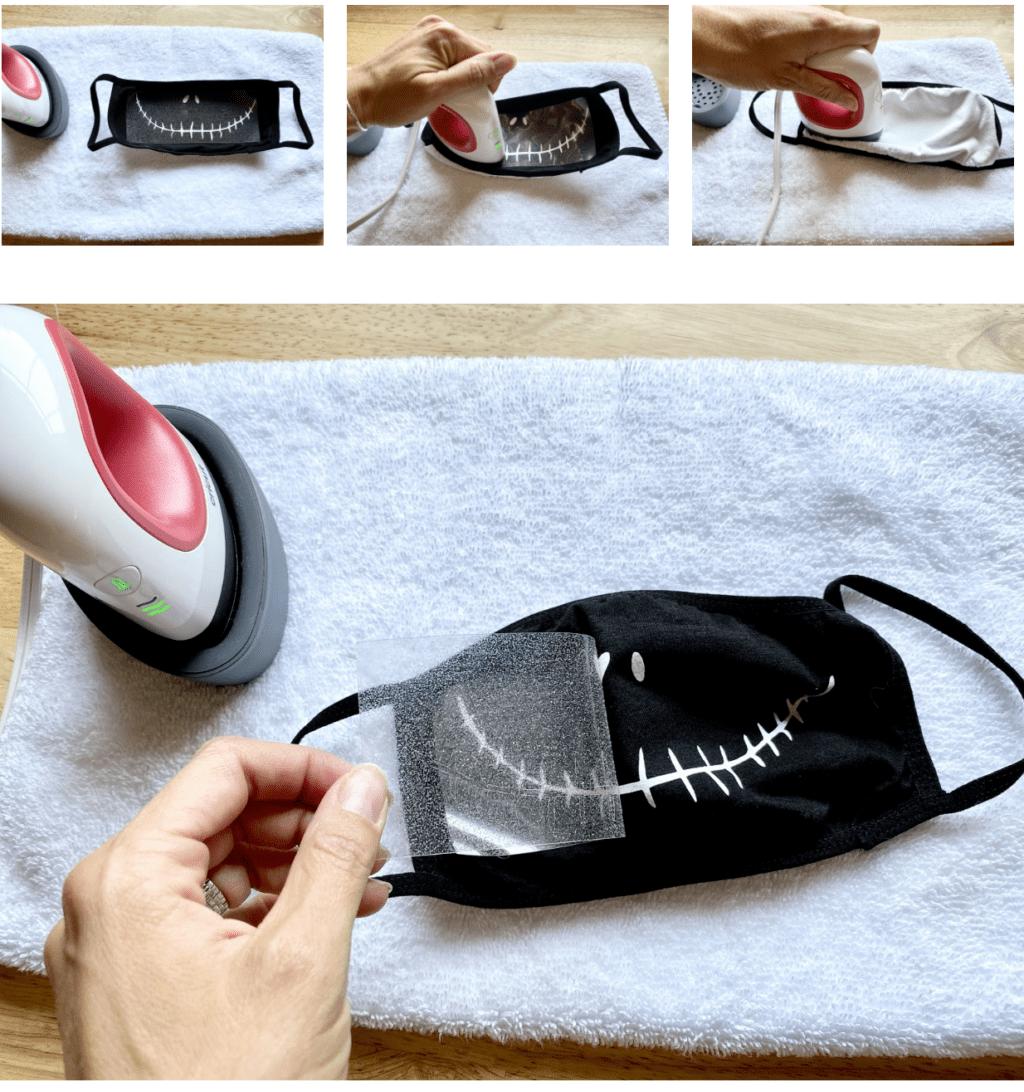 using a heat press to make a jack skellington face mask