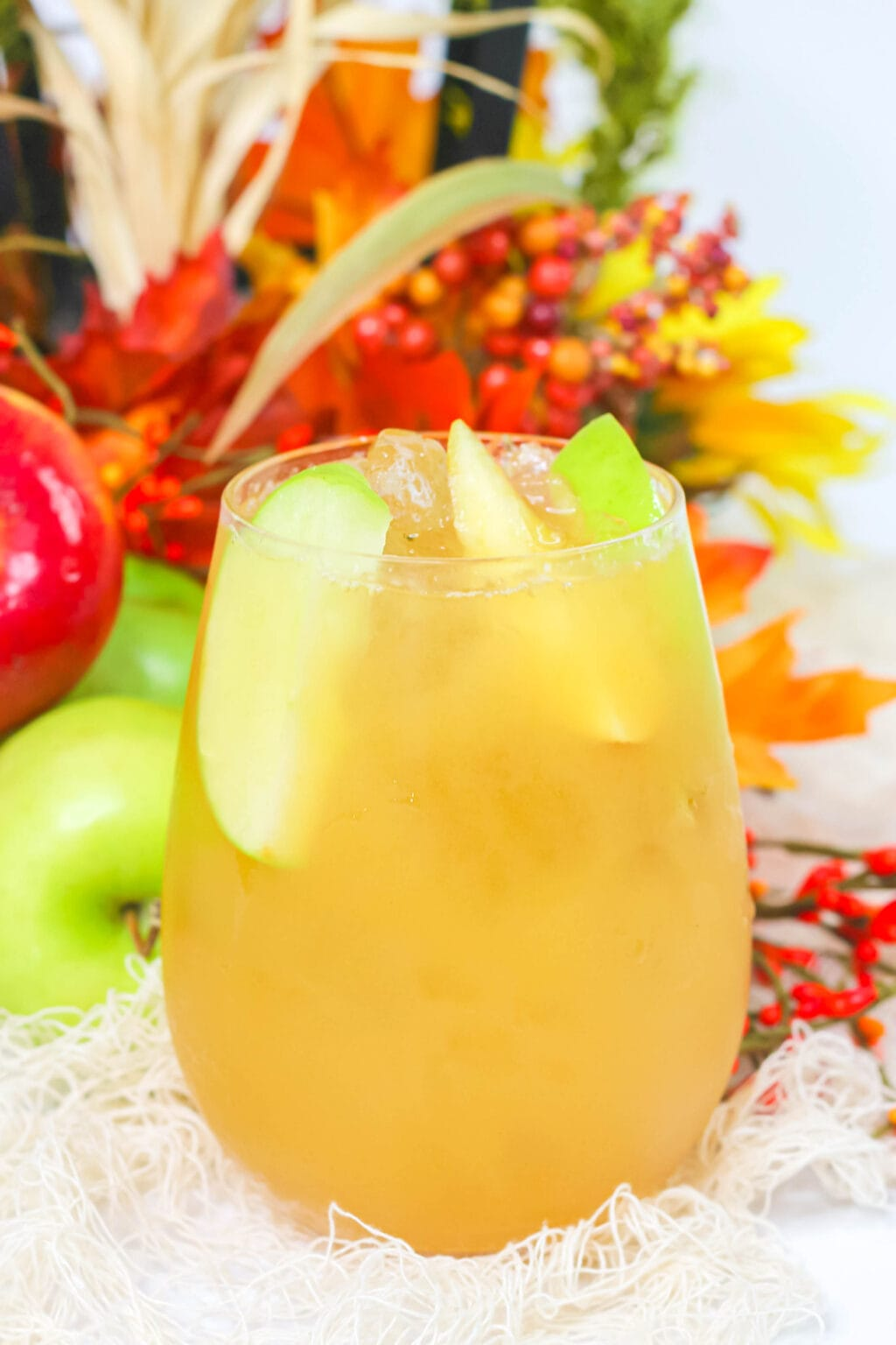 caramel apple cider cocktail in glass